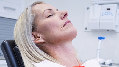 Woman relaxed during dental care